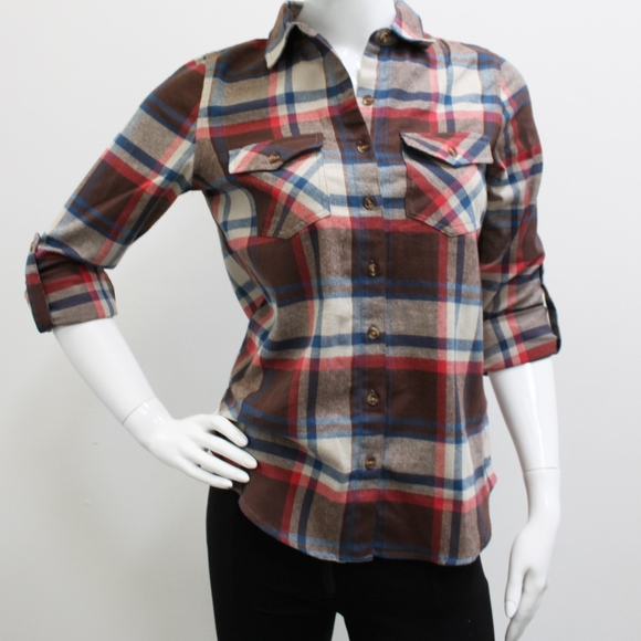 5cee8c1242e6c Women Cotton Plaid Button Down Shirt